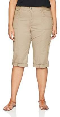 Lee Women's Plus-Size Relaxed Fit Skye Knit Waist Cargo Capri Pant