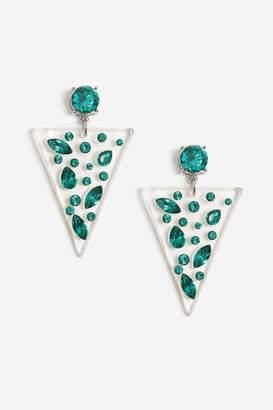 Topshop Womens Triangle Drop Earrings - Blue