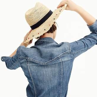 J.Crew Embellished packable straw hat