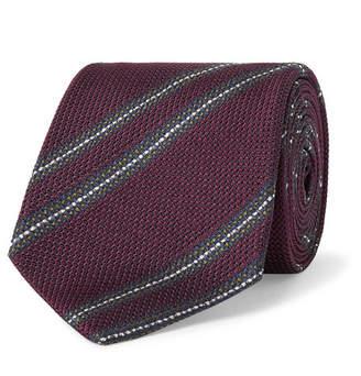 Drakes Drake's 8cm Striped Woven Silk Tie