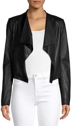 Theory Leather Open-Front Cropped Jacket