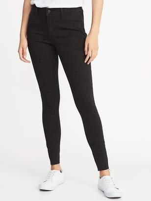 Old Navy Mid-Rise Raw-Edge Velvet-Dot Rockstar Super Skinny Jeans for Women