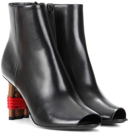 Balenciaga Balenciaga Bistrot Leather Peep-toe Ankle Boots