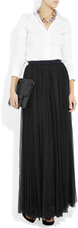 Mulberry Tulle and silk maxi skirt
