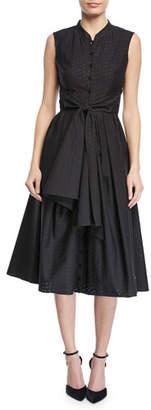 Zac Posen Floral Tie-Front Sleeveless Shirt Dress
