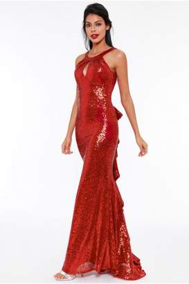 e40964233f0 Goddiva Red Halter Neck Fishtail Sequin Maxi Dress