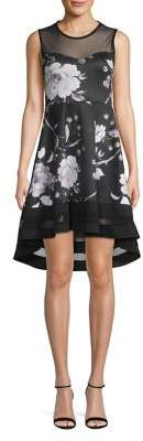 Quiz Floral High-Low Illusion Fit-&-Flare Dress