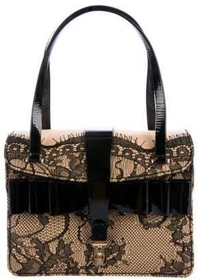 Valentino Lace-Trimmed Raffia Bag