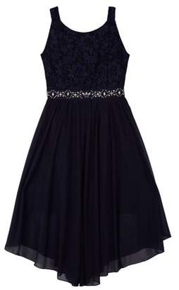 Amy Byer Lace Long Dress with Sheer Overlay (Big Girls)