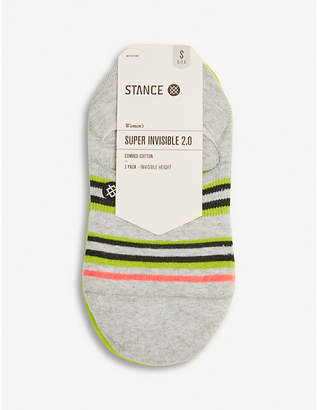 Stance Pack of three super invisible striped cotton-blend socks