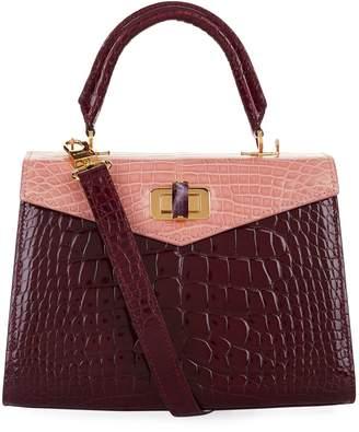 Ethan K Croc Alla Single Top Handle Bag