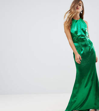 Jarlo Petite High Neck Fishtail Maxi Dress With Open Back Detail