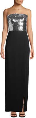 Monique Lhuillier Strapless Sequin-Bodice Crepe Column Evening Gown w/ Slit