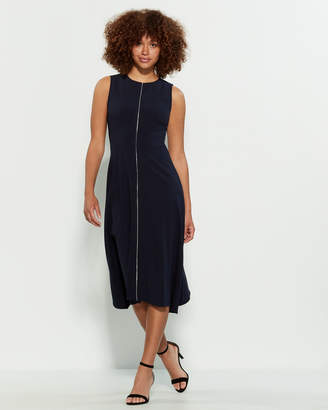 DKNY Sleeveless Midi Crepe Dress
