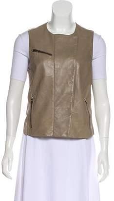 J Brand Leather Button-Up Vest