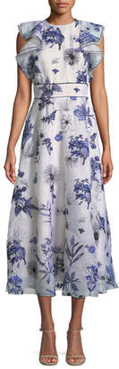 Lela Rose Sleeveless Floral-Embroidered Fit-and-Flare Tea-Length Dress