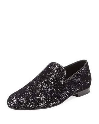 Jimmy Choo Sloane Men's Coarse Glitter Velvet Slipper, Black/Silver $750 thestylecure.com