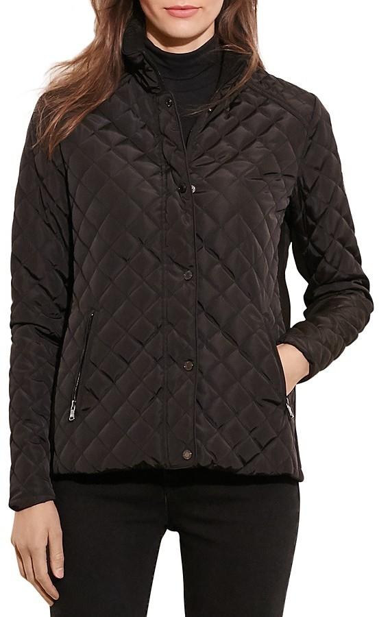 Lauren Ralph Lauren Faux Leather Neck Tab Quilted Jacket