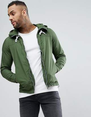 Pull&Bear Zip Through Hooded Jacket In Khaki