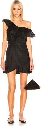 Self-Portrait Self Portrait One Shoulder Frilled Dress in Black | FWRD