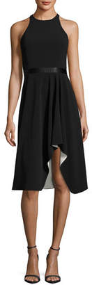 Halston High-Neck Flowy Skirt Cocktail Dress