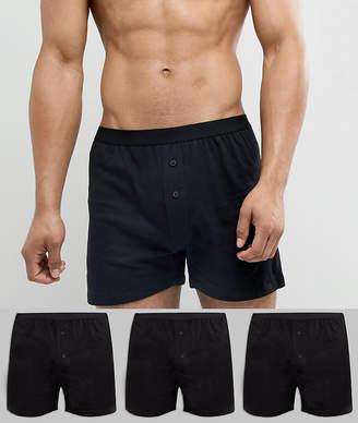 Asos DESIGN jersey boxers 3 pack in black save