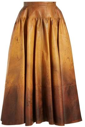 Calvin Klein Ombre Leather Skirt - Womens - Brown Multi