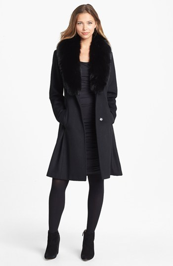 Nicole Miller Genuine Fox Fur Collar Wrap Coat