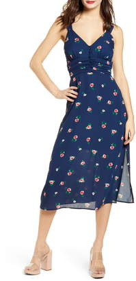 Rowa Row A Gathered Waist Button Front Crepe Midi Dress