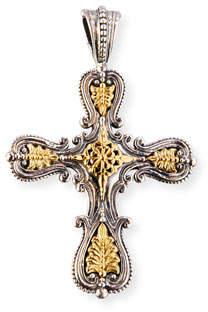 Konstantino Granulated Sterling Silver & 18K Gold Cross Pendant