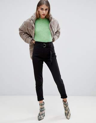 Bershka high waist tie detal mom PANTS in black