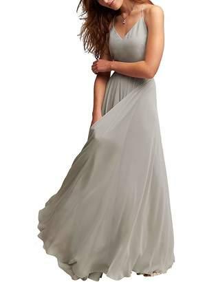 MenaliaDress Long Spaghetti Straps V Neck Summer Party Gown Bridesmaid Dress M097LF US