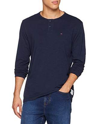Tommy Jeans Men's Henley Button Front Long Sleeve Top,Large