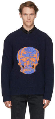Alexander McQueen Navy and Black Skull Intarsia Sweater