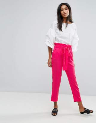 MANGO High Waisted Wide Leg Pants
