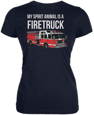 Old Glory Spirit Animal Firetruck Navy Juniors Soft T-Shirt