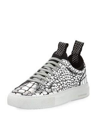 Croco P448 Soho Metallic Low-Top Sneaker with Neoprene Sockliner