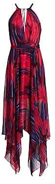 Halston Women's Printed Sleeveless High Neck Handkerchief Gown - Size 0