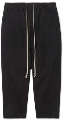 Rick Owens Cropped Stretch-Cotton Ripstop Drawstring Trousers