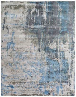 Exquisite Rugs Reflections Bamboo Silk Contemp Hand-Made Rug Blue