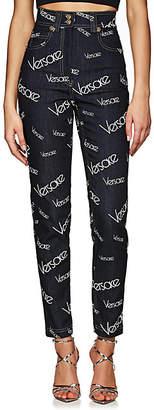 Versace Women's Logo Mania High-Rise Jeans - Dk. Blue