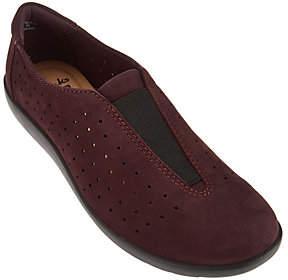 Clarks Perforated Nubuck Leather Slip-on Shoes- Medora Gemma