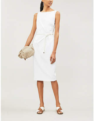 Max Mara Cordoba belted sleeveless stretch-cotton dress