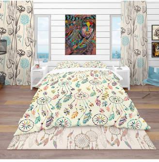 Design Art Designart 'Pattern With Native Indian-American Dream Catcher' Southwestern Duvet Cover Set - Twin Bedding