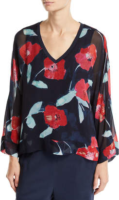 Go Silk Long-Sleeve V-Neck Floral-Print Kimono Blouse