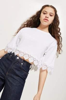 Topshop Lace Trim Cropped T-Shirt
