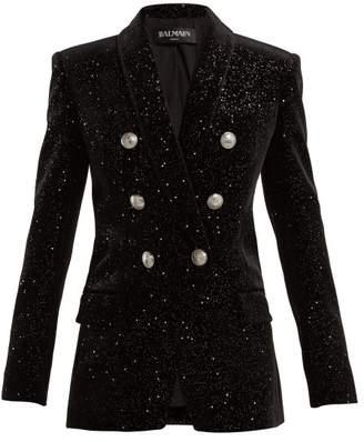 Balmain Double-breasted glitter velvet blazer