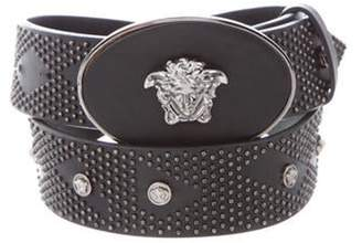 Versace Studded Leather Waist Belt Black Studded Leather Waist Belt