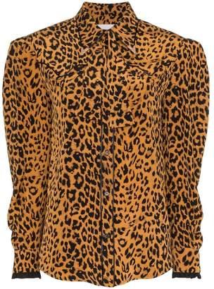 PushBUTTON leopard print frill cuff silk shirt
