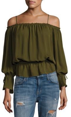 Love Sam Gathered Silk Cold-Shoulder Top $235 thestylecure.com
